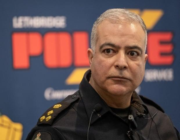 Lethbridge Police Service Chief Shahin Mehdizadeh has suspended five employees as part of an investigation into inappropriate memes. (David Rossiter/The Canadian Press - image credit)