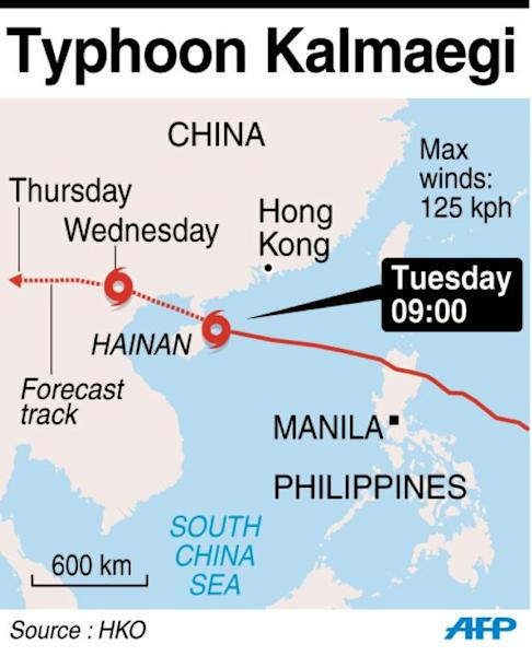 Map showing the path of Typhoon Kalmaegi