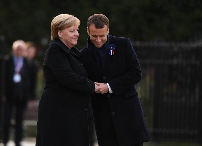 In a highly symbolic ceremony, German Chancellor Angela Merkel and French President Emmanuel Macron met at the site where Germany officially surrendered at dawn on November 11, 1918