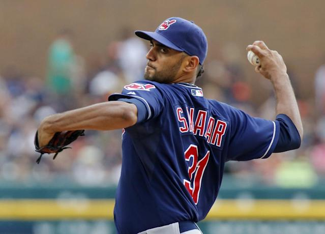 Cleveland Indians' Danny Salazar pitches against the Detroit Tigers in the first inning of a baseball game on Sunday, Sept. 1, 2013, in Detroit. (AP Photo/Duane Burleson)