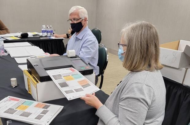 Election officials counted votes in Saint John's Ward 4 on Wednesday, one of several races across the provinces where municipal election results were being recounted because of close results.  (Paul Harpelle/Elections NB - image credit)