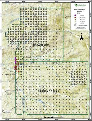 Figure 7: Surficial Soil Sample Map (MPIx ratio) (CNW Group/Adventus Mining Corporation)