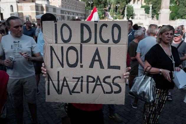 ROME, ITALY - JULY 31: demonstration, organized  by the No Vax and far-right movements against the