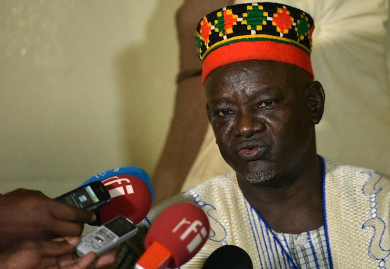 "Mogho Naba -- ""king"" of Burkina Faso's leading Mossi tribe -- addresses the media in Ougadougou, on September 22, 2015 (AFP Photo/Sia Kambou)"
