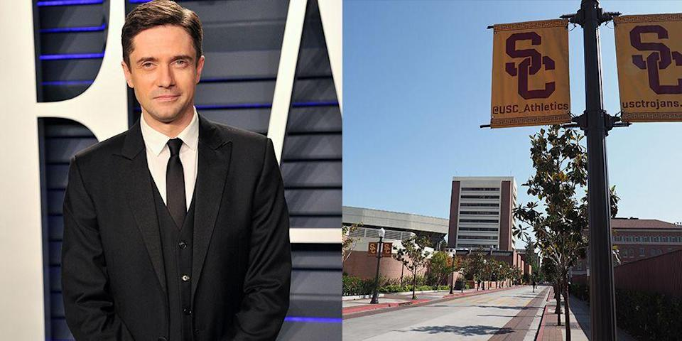 <p><strong>University of Southern California</strong><br></p><p>After attending boarding school in New Hampshire, where he was actively involved in theater, Grace attended the University of Southern California. However, the actor didn't complete his degree. In 1998, when he was 20, Topher dropped out of USC to play Eric Foreman on <em>That '70s Show</em>. </p>