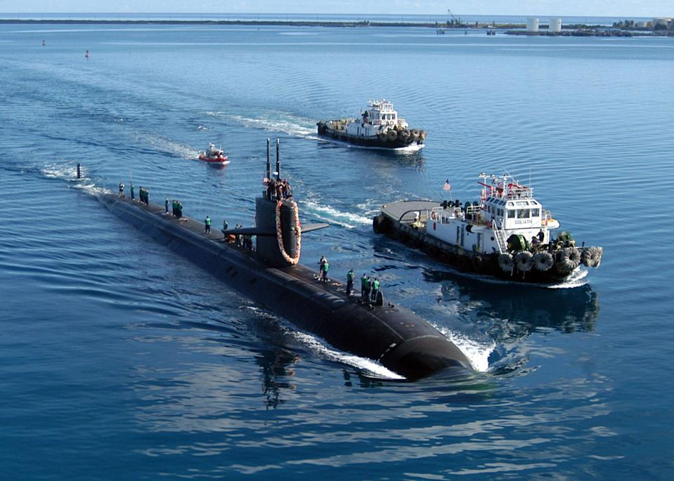 The USS San Francisco, an American nuclear submarine, pictured in Apra Harbour, Guam.  (Getty Images)