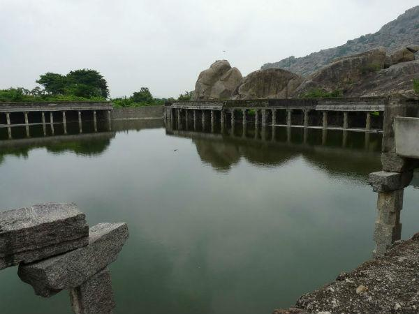 A rain-fed tank in Gingee Fort