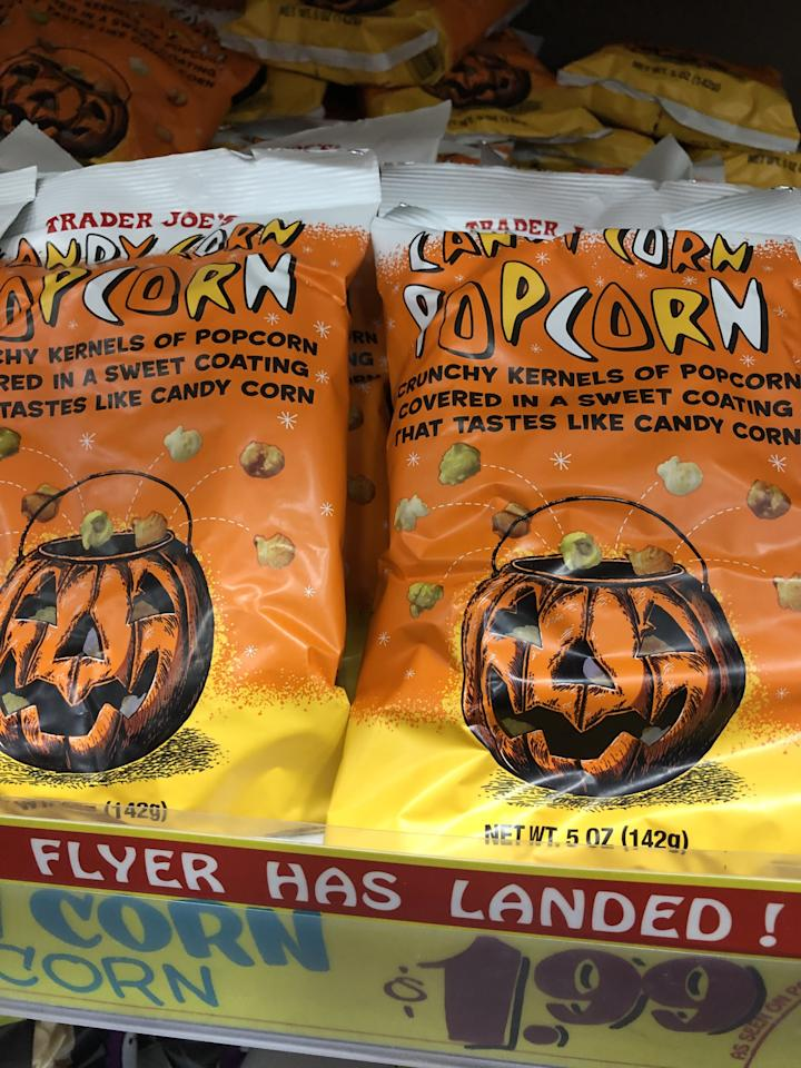 "<p>This <a href=""https://www.traderjoes.com/digin/post/candy-corn-popcorn"" target=""_blank"" class=""ga-track"" data-ga-category=""Related"" data-ga-label=""https://www.traderjoes.com/digin/post/candy-corn-popcorn"" data-ga-action=""In-Line Links"">Candy Corn Popcorn</a> is sweet and crunchy, and really does taste like candy corn. We love that the three colors of the popcorn are naturally derived, not artificial!</p>"
