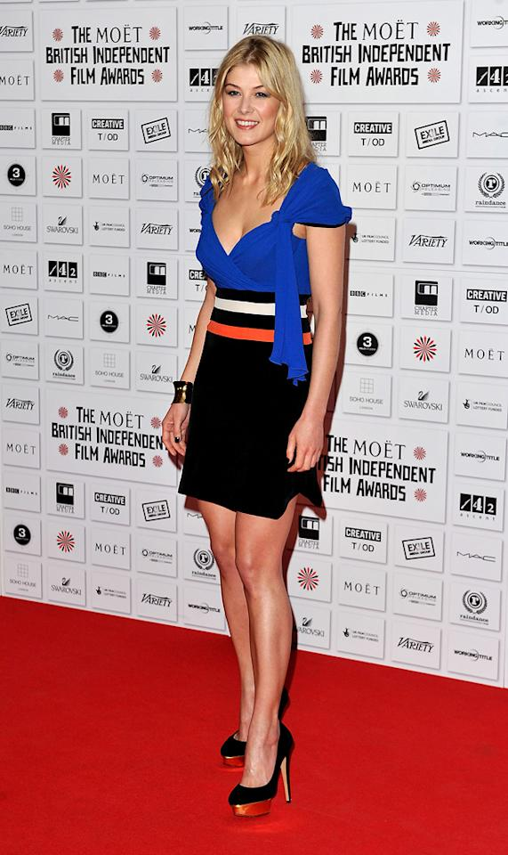 "<a href=""http://movies.yahoo.com/movie/contributor/1804544482"">Rosamund Pike</a> attends the Moet British Independent Film Awards on December 5, 2010."