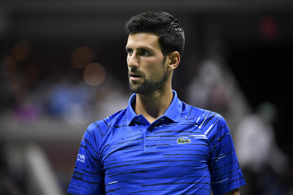Aug 30, 2019; Flushing, NY, USA; Novak Djokovic of Serbia takes the court to face Denis Kudla of the United States in the third round on day five of the 2019 U.S. Open tennis tournament at USTA Billie Jean King National Tennis Center. Mandatory Credit: Danielle Parhizkaran-USA TODAY Sports