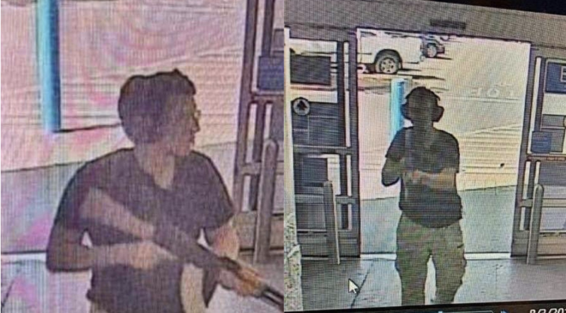 Photos show shooter Patrick Crusius with an assault-style rifle, with protective glasses and ear muffs. At the mall in El Paso Texas.