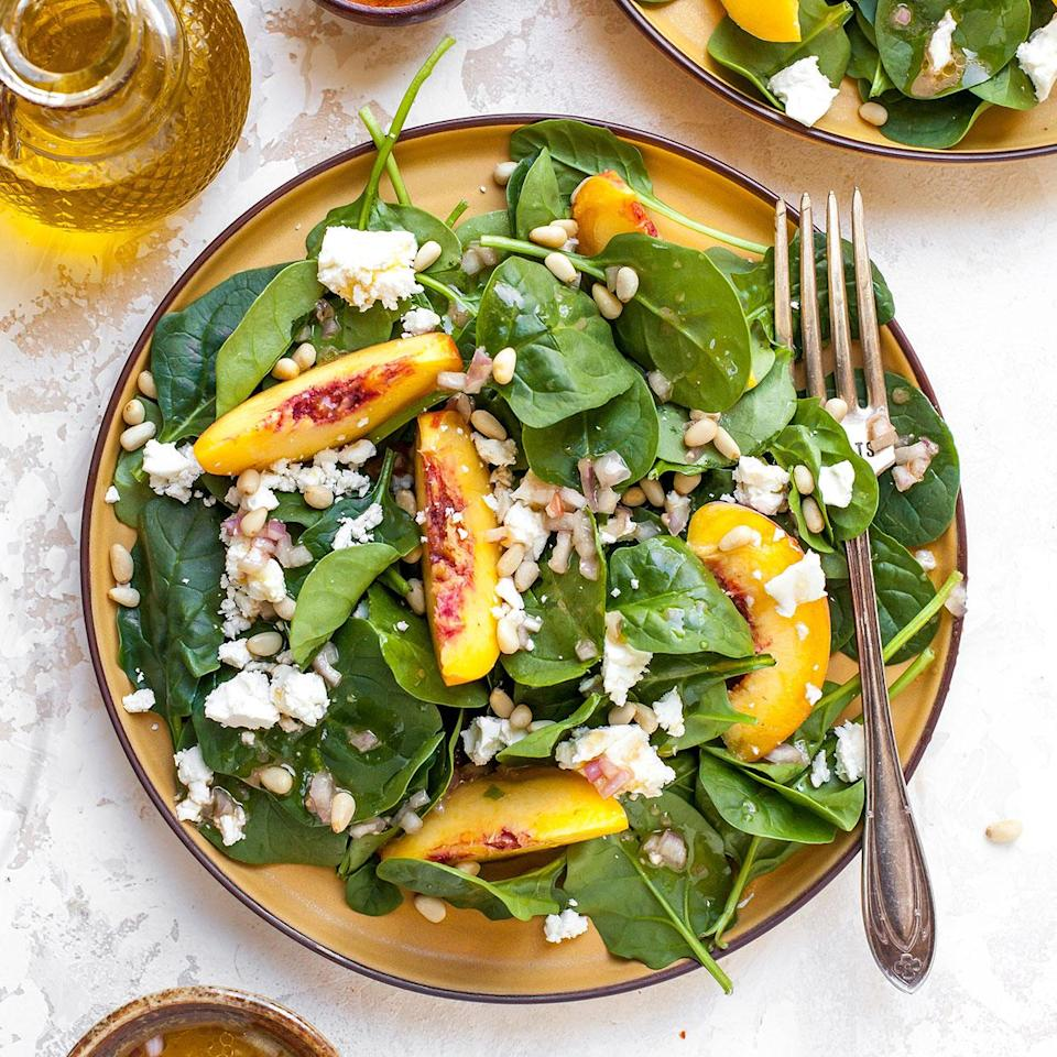 <p>This simple and refreshing salad recipe takes just 15 minutes to prepare. Each bite delivers the taste of sweet juicy peach, tangy feta, and toasted pine nuts and will leave you completely satisfied--but not over-stuffed!</p>