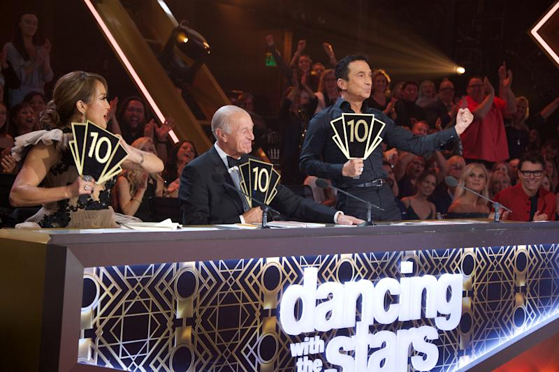 "DANCING WITH THE STARS - ""Finale"" - It all comes down to this as four celebrity and pro-dancer couples return to the ballroom to compete and win the Mirrorball trophy on the 11th and final week of the 2019 season of ""Dancing with the Stars,"" live, MONDAY, NOV. 25 (8:00-10:00 p.m. EST), on ABC. (Eric McCandless via Getty Images) CARRIE ANN INABA, LEN GOODMAN, BRUNO TONIOLI"
