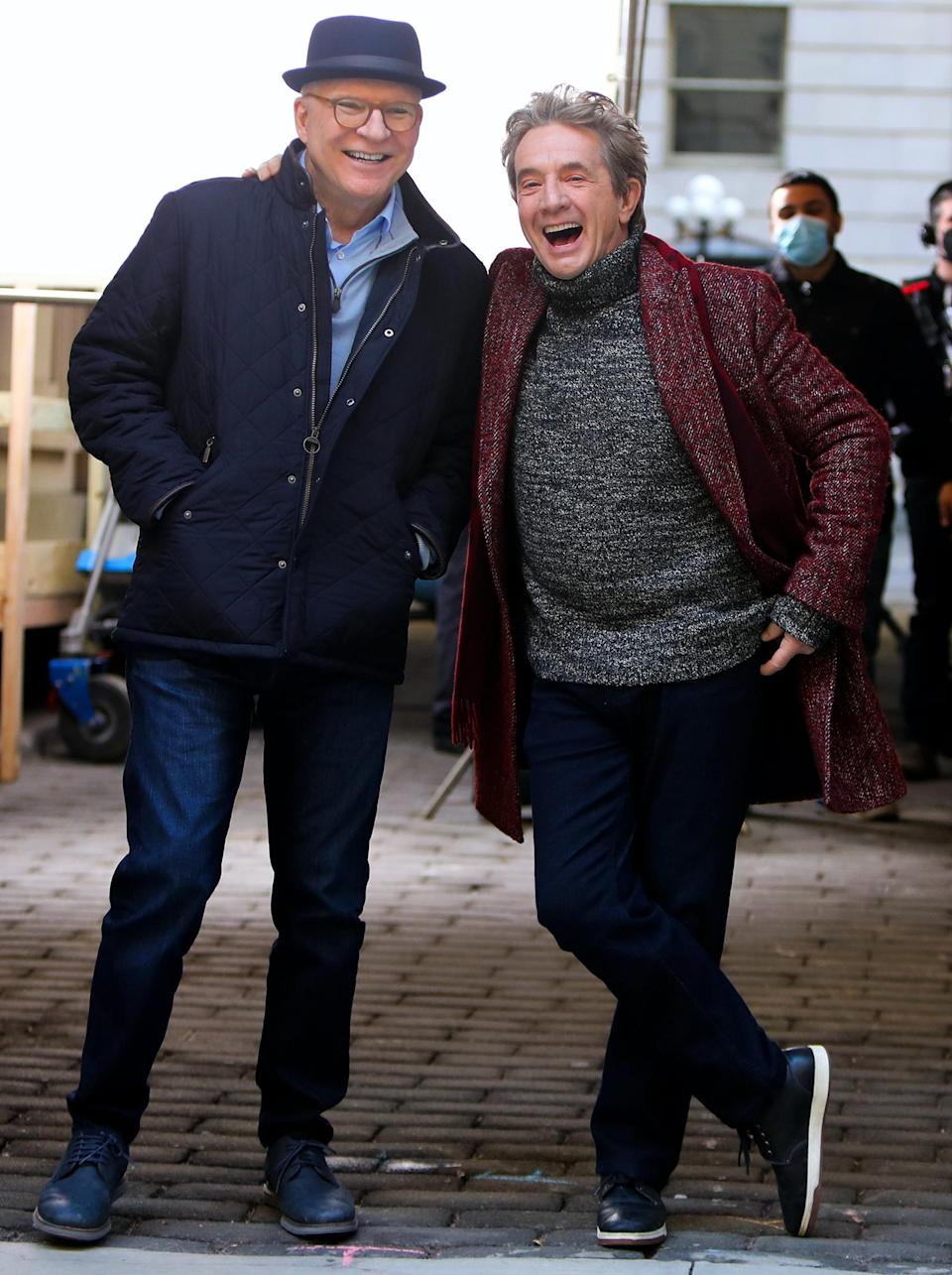 <p>Steve Martin and Martin Short share a laugh on the set of <em>Only Murder in the Building</em> on Wednesday in N.Y.C.</p>