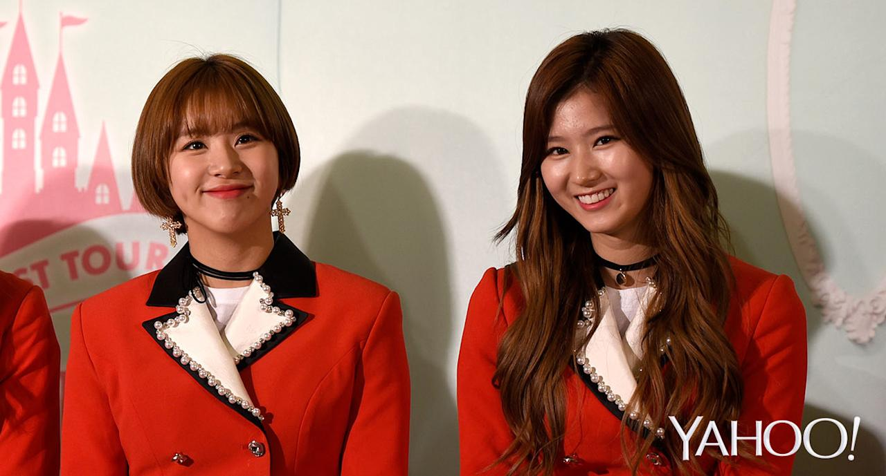 <p>Members of Korean girl group TWICE at a press conference in Singapore (Photo: Yahoo Lifestyle Singapore/Bryan Huang) </p>