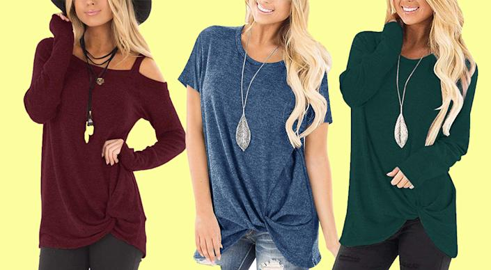 A casual twist-knot makes this tunic super-flattering in cold-shoulder, short-sleeve, or long-sleeve options. (Photo: Amazon)