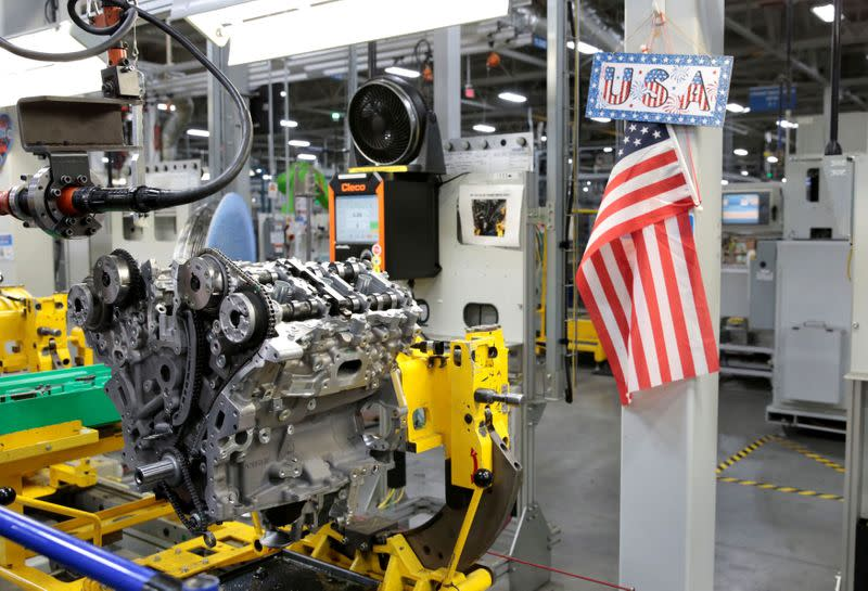 FILE PHOTO: A partially assembled V6 engine, used in a variety of General Motors cars, trucks and crossovers, moves down the assembly line at the GM Romulus Powertrain plant in Romulus,