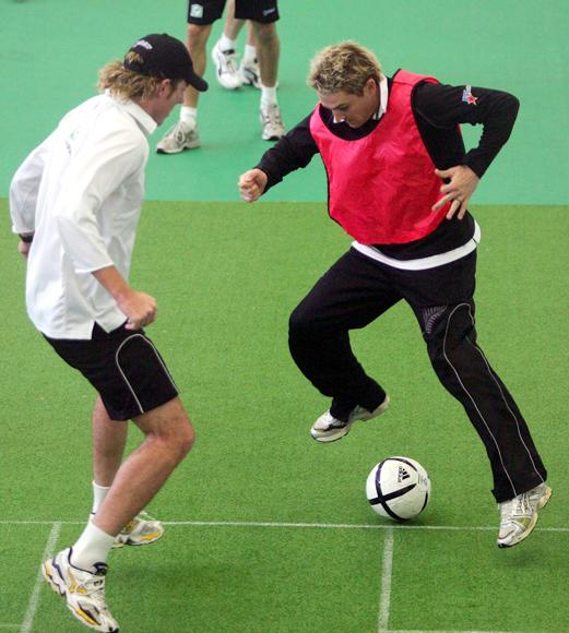 AUCKLAND, NEW ZEALAND - MARCH 25:  Brendon McCullum and Iain O'Brien of New Zealand in action during a game of soccer during training at Eden Park on March 25, 2005 in Auckland, New Zealand.  (Photo by Hamish Blair/Getty Images)
