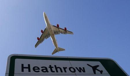 An aircraft takes off from Heathrow airport in west London