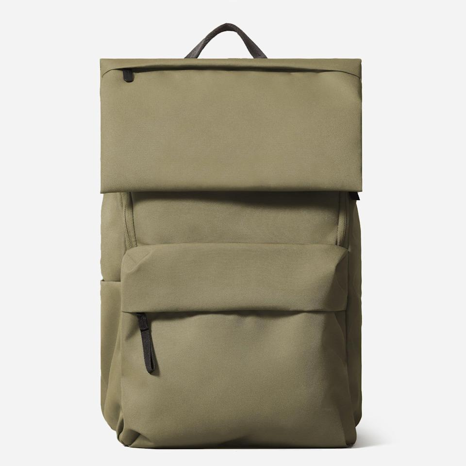 """<p><strong>everlane</strong></p><p>everlane.com</p><p><strong>$78.00</strong></p><p><a href=""""https://go.redirectingat.com?id=74968X1596630&url=https%3A%2F%2Fwww.everlane.com%2Fproducts%2Fwomens-renew-backpack-peat&sref=https%3A%2F%2Fwww.goodhousekeeping.com%2Fclothing%2Fg27508273%2Fbest-college-backpacks%2F"""" rel=""""nofollow noopener"""" target=""""_blank"""" data-ylk=""""slk:Shop Now"""" class=""""link rapid-noclick-resp"""">Shop Now</a></p><p>This stylish backpack from Everlane is made with<strong> 100% recycled polyester that also has a water repellent finish</strong>. There's a zippered laptop compartment that can hold a 15-inch device. With tons of organizational pockets, there's an internal and external water bottle compartment, front zippered pockets and internal pouches. Plus, it even has a back strap to fit on top of a carry-on suitcase for easy traveling. <br></p>"""