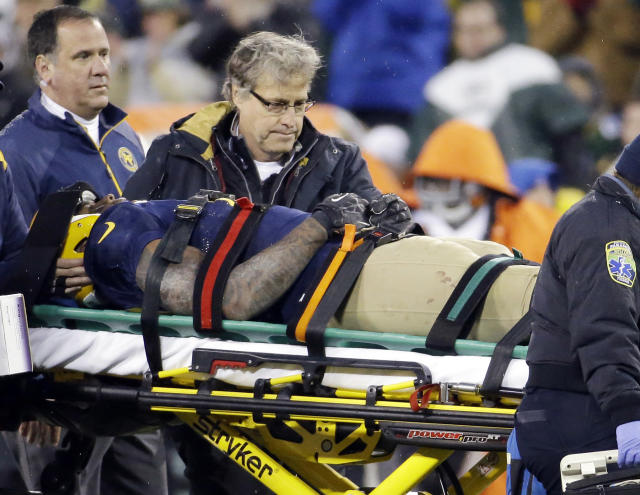 FILE - In this Oct. 20, 2013, file photo, Green Bay Packers' Jermichael Finley is taken off the field on a stretcher during the second half of an NFL football game against the Cleveland Browns, in Green Bay, Wis. Finley has tweeted that he left the intensive care unit and had full feeling in his arms and legs after injuring his neck in the game. Finley posted Monday night, Oct. 21, 2013, on Twitter that he was able to walk to and from the shower. He thanked family, friends, teammates and fans for an outpouring of support. (AP Photo/Morry Gash, File)