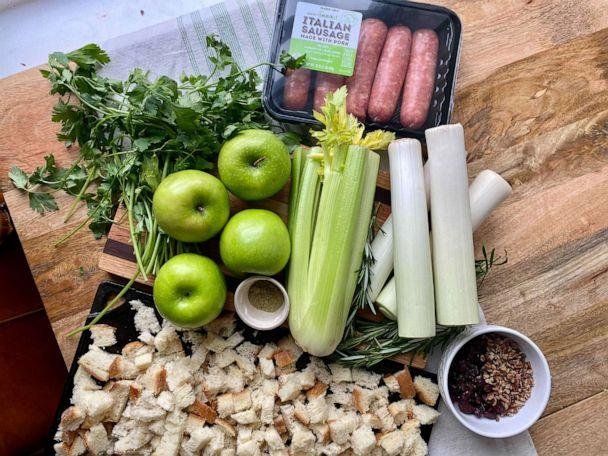PHOTO: Ingredients for homemade sausage, leek and apple stuffing for Thanksgiving. (Kelly McCarthy)
