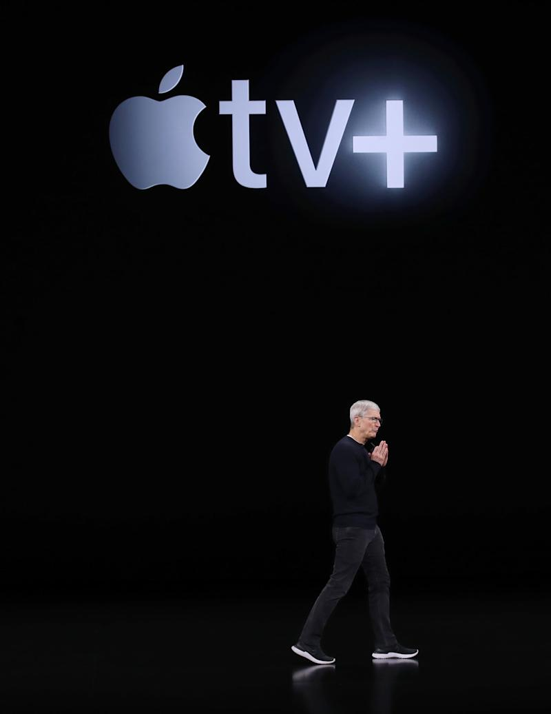 CUPERTINO, CALIFORNIA - SEPTEMBER 10: Apple CEO Tim Cook delivers the keynote address during a special event on September 10, 2019 in the Steve Jobs Theater on Apple's Cupertino, California campus. Apple unveiled new products during the event. (Photo by Justin Sullivan/Getty Images)