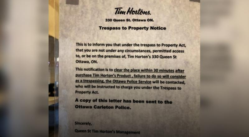 A photo posted by Facebook user Steph Sizer shows a letter in the window of an Ottawa Tim Hortons. (Facebook)