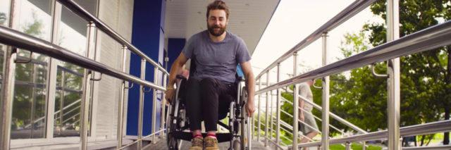 Young disabled man in a wheelchair.