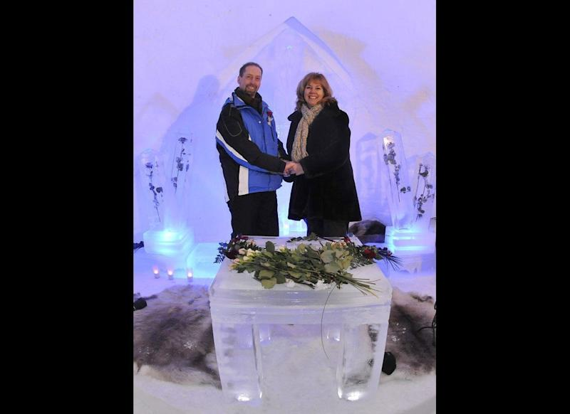 Icy Reception: German couple Klaus Grunenberg and Anita Bolik got one icy reception at their wedding -- and they loved every second of it. The couple married on Jan. 4, 2009, in a chapel made entirely of ice in the ski resort town of Kitzbuehl, Austria. Grunenberg built the chapel specifically for the affair over the course of four days and vowed to let other couples use it for their own weddings until it melted that spring.