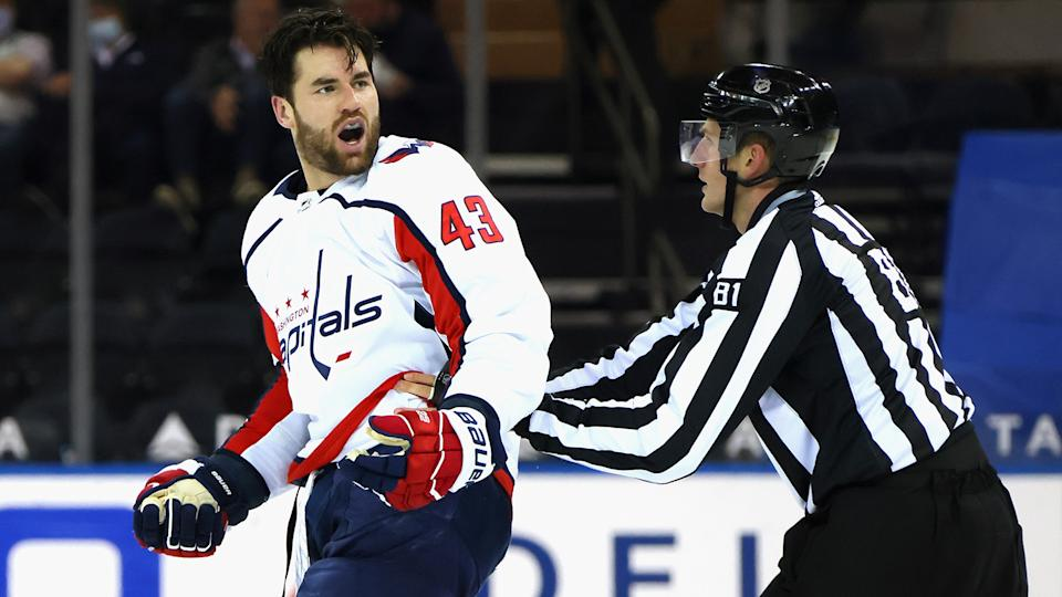 Tom Wilson spoke to the media on Friday for the first time since he spraked a brawl between the Capitals and Rangers. (Photo by Bruce Bennett/Getty Images)