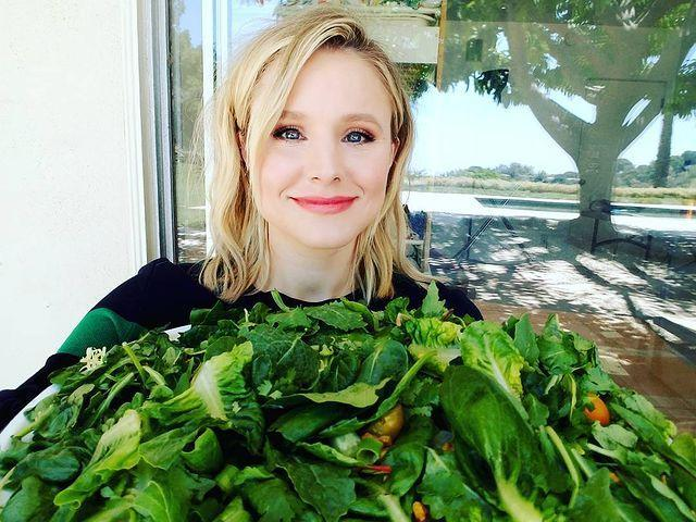 "<p>Kristen allocated part of her front yard to two dirt beds that have yielded plentiful produce.<br><br>'There's cilantro, sage, baby greens,' she told <a href=""https://www.womenshealthmag.com/life/a19915245/kristen-bell-vegan-food/"" rel=""nofollow noopener"" target=""_blank"" data-ylk=""slk:WH"" class=""link rapid-noclick-resp"">WH</a>. 'Carrots, broccoli, kale, potatoes, cauliflower. These are strawberries. Romaine, butter lettuce, thyme...Ooh, the spinach is coming up real nice.'</p><p><a href=""https://www.instagram.com/p/BYJLpmFF4rP/"" rel=""nofollow noopener"" target=""_blank"" data-ylk=""slk:See the original post on Instagram"" class=""link rapid-noclick-resp"">See the original post on Instagram</a></p>"