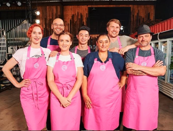 MasterChef 2020 contestants in pink aprons