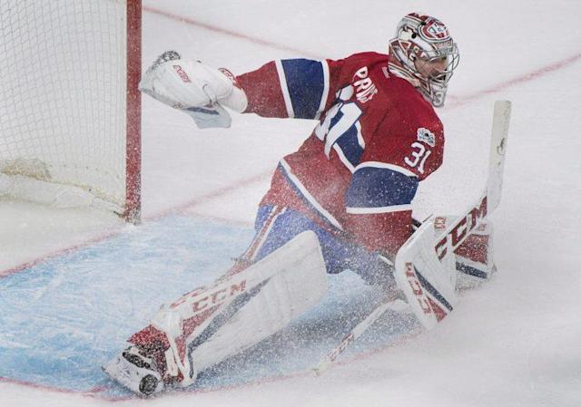 "<a class=""link rapid-noclick-resp"" href=""/nhl/players/3782/"" data-ylk=""slk:Carey Price"">Carey Price</a> made an epic save on Sunday night (Graham Hughes/CP)"