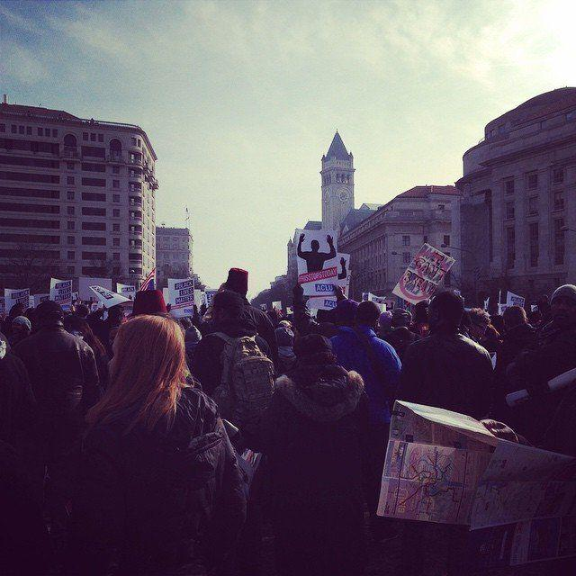 Protesters gather in Freedom Plaza for the march to the U.S. Capitol in Washington, D.C.