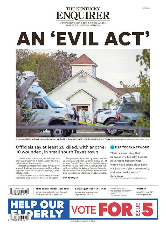 <p>THE KENTUCKY ENQUIRER<br> Published in Fort Mitchell, Ky. USA. (newseum.org) </p>