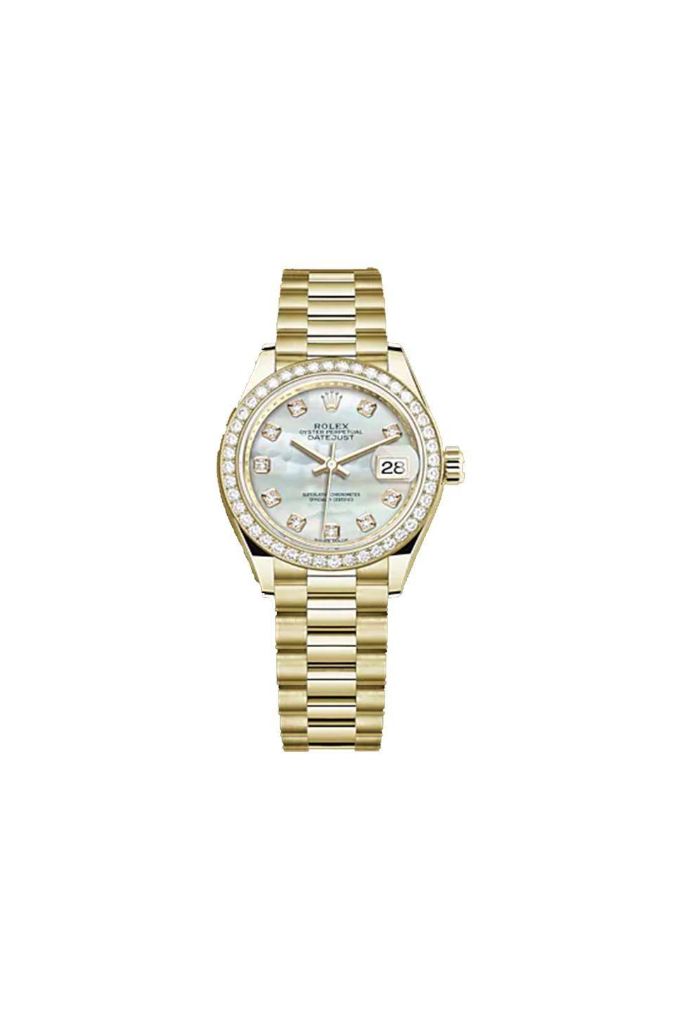"""<p>Gold, diamond and mother-of-pearl watch, £30,060, Rolex<br><br><a class=""""link rapid-noclick-resp"""" href=""""https://www.rolex.com/watches/lady-datejust/m279138rbr-0015.html"""" rel=""""nofollow noopener"""" target=""""_blank"""" data-ylk=""""slk:SHOP NOW"""">SHOP NOW</a><br></p>"""
