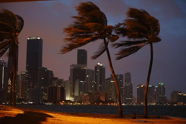 <p>The skyline is seen as the outer bands of Hurricane Irma start to reach Florida on Sept. 9, 2017 in Miami, Fla. (Photo: Joe Raedle/Getty Images) </p>