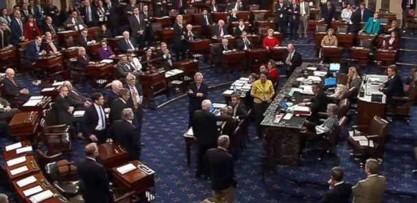 PHOTO: Sen. John McCain (R-AZ) was one of three Republicans votes 'no' on the amendment on a version of Obamacare reform, July, 28, 2017, at the Capitol (C-SPAN)