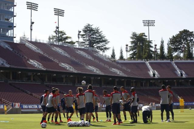 Members of the U.S. men's national soccer team gather during the team's World Cup training camp at Stanford University in Stanford