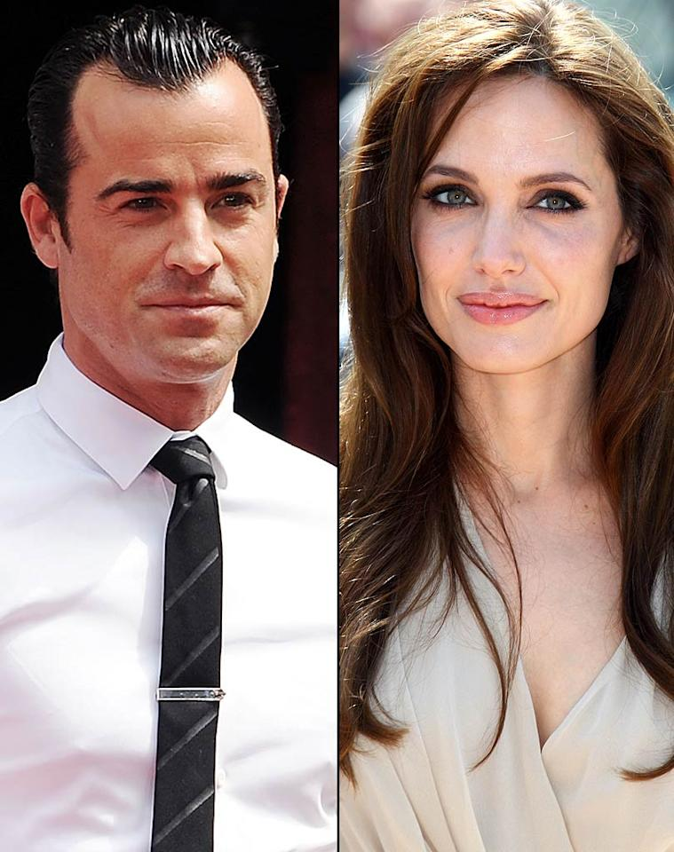 """<i>In Touch</i> says """"Angelina Jolie wasn't content stealing Jennifer Aniston's husband -- now she's set her evil eyes on Justin Theroux,"""" Aniston's new actor-writer boyfriend. According to the mag, """"Angelina is trying desperately to stab [Aniston] in the heart -- again,"""" and is """"actively trying to set up a project in which she and Justin would work together."""" For how badly Jolie wants to """"destroy"""" Aniston, and what steps she's already taken to do it, check out what a Jolie insider admits to <a href=""""http://www.gossipcop.com/angelina-jolie-stealing-justin-theroux-steal-jennifer-aniston-boyfriend-brad-pitt/"""" target=""""new"""">Gossip Cop</a>. Jon Kopaloff/<a href=""""http://filmmagic.com/"""" target=""""new"""">FilmMagic.com</a>, Mike Marsland/<a href=""""http://www.wireimage.com"""" target=""""new"""">WireImage.com</a>"""