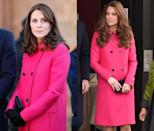 <p>Middleton has worn her fuchsia Mulberry coat through all of her three pregnancies, pictured here in January 2018 and March 2015, while she was carrying Prince Louis and Princess Charlotte. </p>