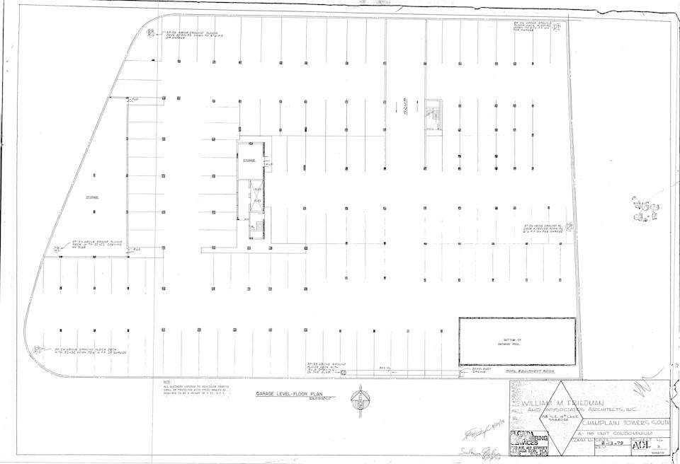 The floorplan for the underground parking garage at Champlain Towers South as it appeared in the 1979 architectural plans.