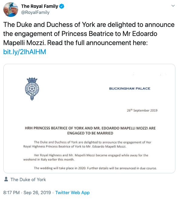 The Palace released a statement via their Twitter page. Photo: Twitter/RoyalFamily