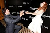 <p>And when they're not showing off their chemistry on the carpet, they're being goofy. Like at the National Board of Review Awards Gala in January 2015, when they celebrated their wins by striking this pose. </p>