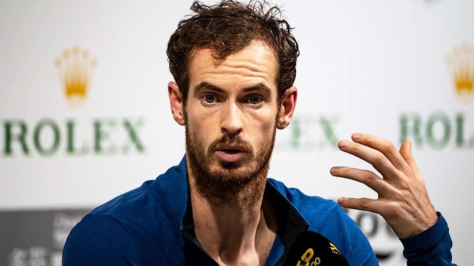 Andy Murray (pictured) talking during a press conference.