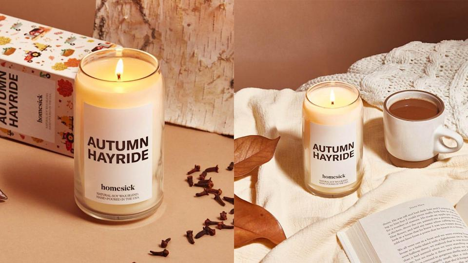 Before soaking in the tub, light a fall-esque candle from Homesick.