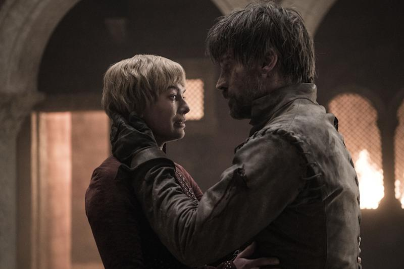 Cersei Lannister (Lena Headey) and her brother Jaime (Nikolaj Coster-Waldau) reunited in the penultimate episode of 'Game of Thrones'. (Credit: HBO)