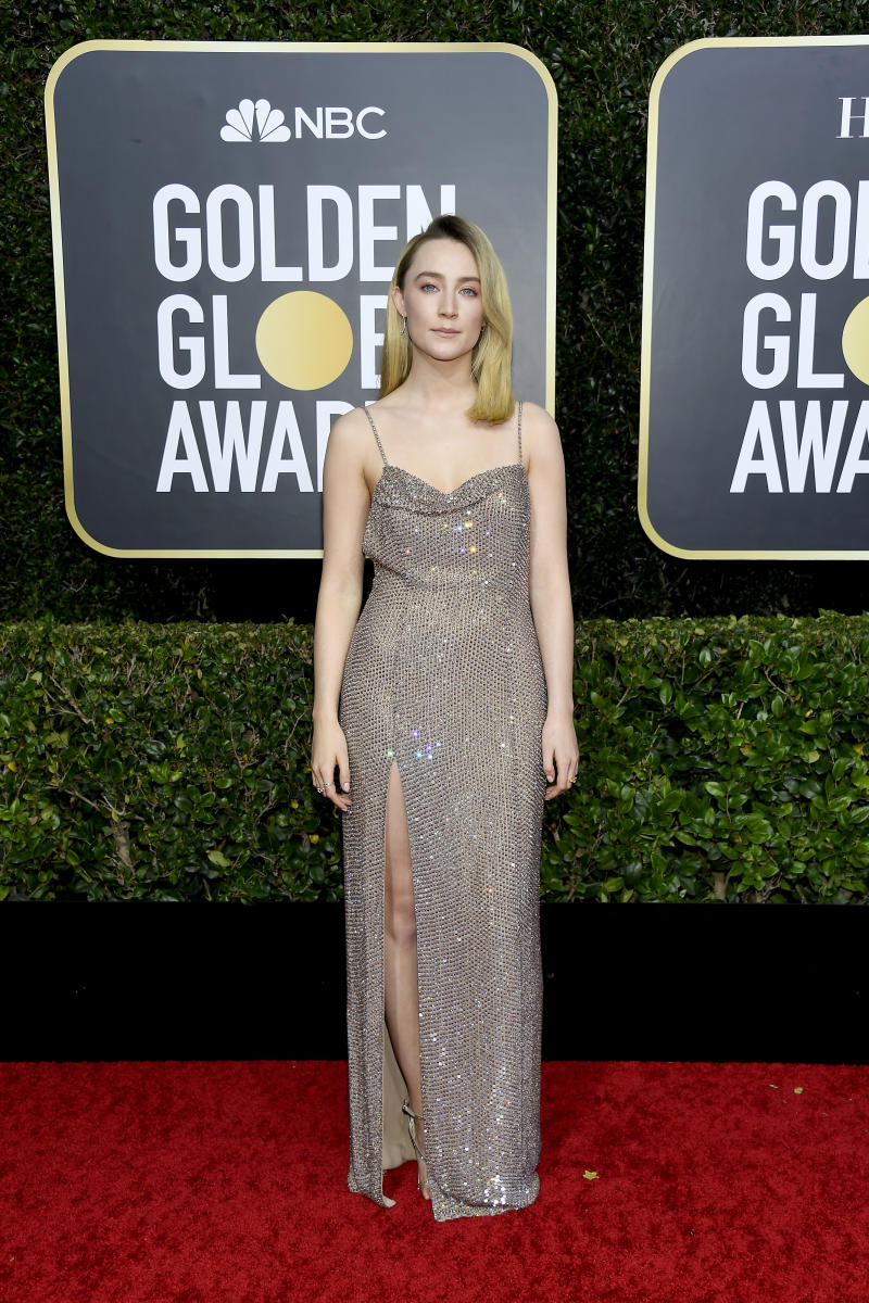 Saoirse Ronan arrives to the 77th Annual Golden Globe Awards held at the Beverly Hilton Hotel on January 5, 2020.