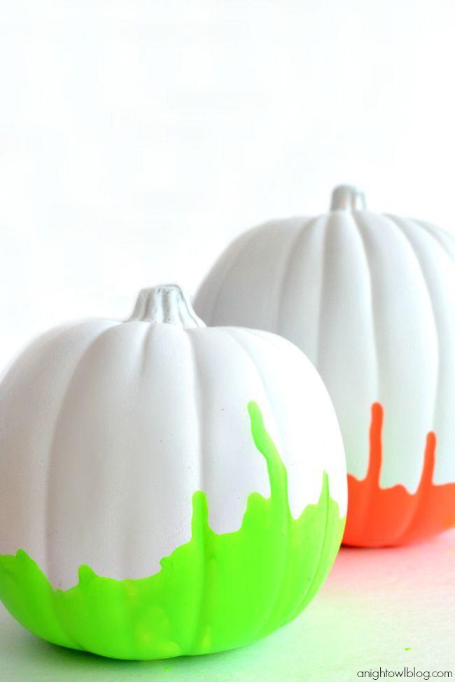 """<p>The secret to achieving these pumpkin's runny effect? Paint them upside-down and allow gravity to take its course. </p><p><em><a href=""""http://www.anightowlblog.com/2013/09/neon-paint-dipped-pumpkins.html/"""" rel=""""nofollow noopener"""" target=""""_blank"""" data-ylk=""""slk:Get the tutorial at A Night Owl Blog »"""" class=""""link rapid-noclick-resp"""">Get the tutorial at A Night Owl Blog »</a></em></p>"""